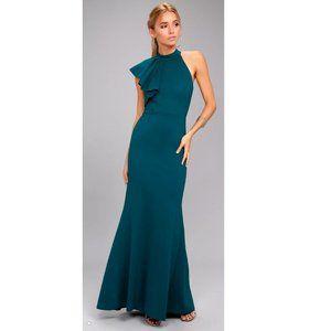 Lulus Margaux Teal Blue One-Shoulder Maxi Dress